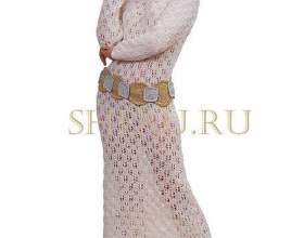 Ажурна довга сукня пов`язане спицями фото