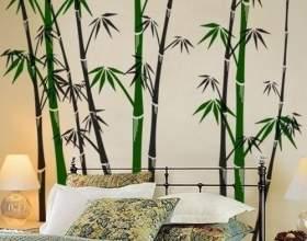 Декор однотонних стін - фото з трафаретами рослин і тварин фото