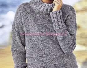 Стильний светр з шовкового твіду спицями: опис + форма фото