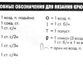 Умовні позначення схем в`язання гачком фото