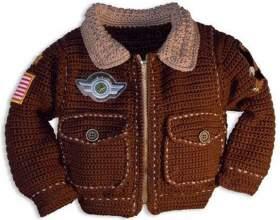 В`язана куртка пілот-гачком для хлопчика, опис, схеми фото