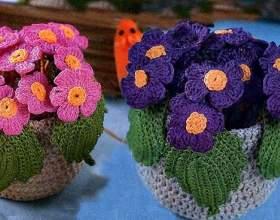 В`язання для будинку - квіти в горщику гачком фото