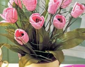 В`язані тюльпани гачком фото